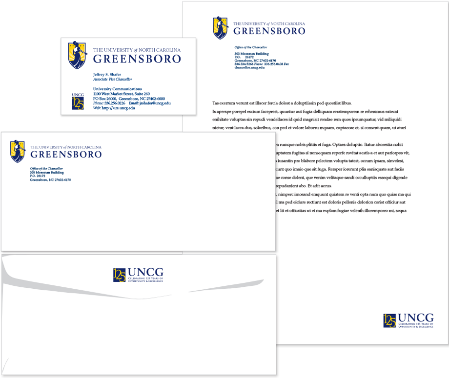 University communications usage stationery uncg stationery and business card examples reheart Image collections